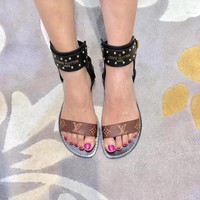 Best Deal Online LV LouisVuitton Gladiator Ankle Strap Wedge Sandals Beaded Sandles