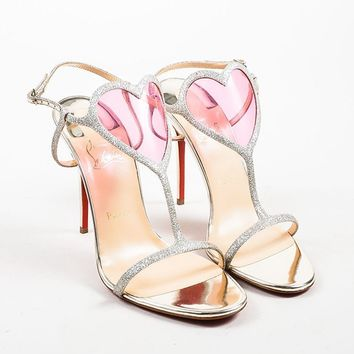 AUGUAU Silver Christian Louboutin Glitter Heart  Cora  Heeled Sandals