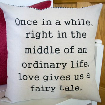 "Stenciled Canvas Pillow, 18"" Pillow, Wedding, Fairy Tale, Decorative Pillow"