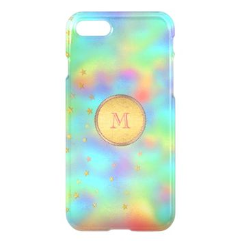 Elegant Pastel Rainbow Colors Gold Foil Monogram iPhone 7 Case