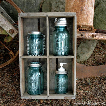 The Country Barrel Antique Blue Ball Mason Jar Sampler -Vase with Flower Frog Lid, Soap Dispenser, Solar Light, Hanging Tea Light Lantern