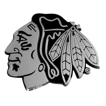 Chicago Blackhawks NHL Chrome Car Emblem (2.3in x 3.7in)