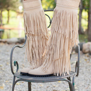 Workin it Fringe Boots Cream