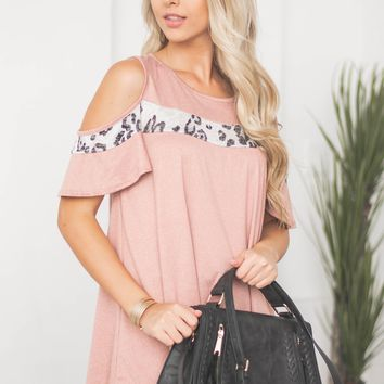 Lizeth Cold Shoulder Leopard Block Top