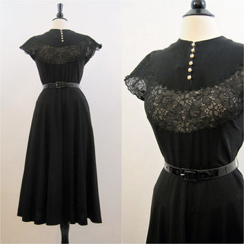 40s 50s Dress Vintage Sheer Lace Bust Rhinestone Pearl Button Dance Fit and Flare M