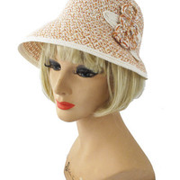 20s Style Ivory Peach Woven Cloche Hat-Vintage Style Hats