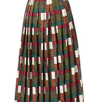 Red And Green Plaid Textured Corduroy Pleats Over The Knee Skirt
