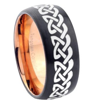 10mm Celtic Knot Love Dome Tungsten Rose Gold Custom Ring for Men