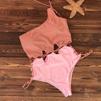 Fashion Single Shoulder Two Strap Waist Bandage Hollow Splicing Color One Piece Bikini Swimsuit