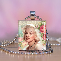 Marilyn Monroe Altered Art Rose Scrabble Charm Necklace