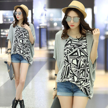 Women's Trending Popular Fashion 2016 Floral Printed Everyday Wear Extra Plus Size Loose Bat Short Sleeve Casual Party Playsuit Clubwear Bodycon Boho Top Shrit T-Shirt T-Shirt _ 5074
