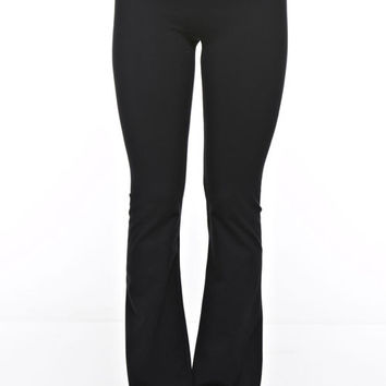 Polka Dot Waist Yoga Pants - Black