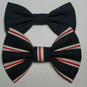Navy blue hair bow, fabric bow, baby bow,small bow, hair bow for kids