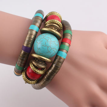 Retro style Antique Bronze Snake Bracelet Inlay Turquoise Beads Alloy Unisex Bracelet Adjustable Bangle JJAL B460