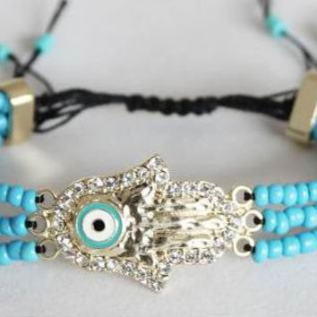 Gold Diamond Hamsa Hand Bracelet, Evil Eye Bracelet, Turquoise Beads Bracelet, Personalized Bridesmaids Jewelries, Unique Graduation gifts