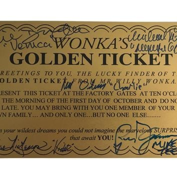 WILLY WONKA ALL KIDS X5 SIGNED GOLDEN TICKET JSA COA AUTOGRAPH MOVIE CAST WILDER