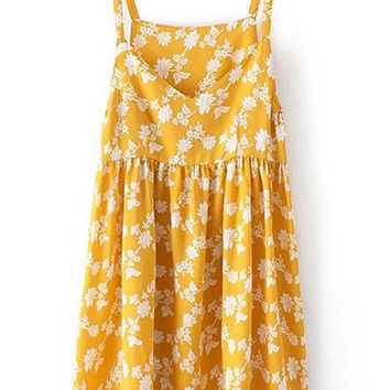 Tiny Floral Print Spaghetti Strap Yellow Dress