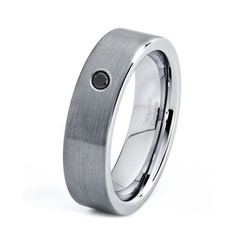 Mens Tungsten Carbide Wedding Band Ring 6mm Black Diamond Brushed 5-15 Sizes Comfort Fit Beveled Edges Custom Engraved