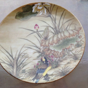 Duck Asian Garden Plate, Saji Duck Floral Plate, Japan China Colecttible Plate, Floral Trinket Dish, Baby Duck Plate