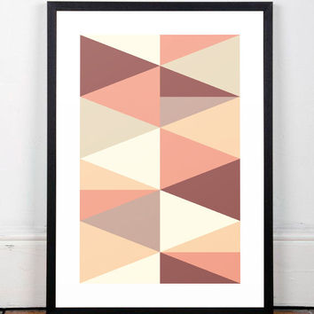 Modern art print, Scandinavian art, Geometric art print, Geometric poster, Triangles art print, Wall print, Home decor, Abstract art, Poster