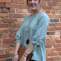 Sage Bow Shift Top