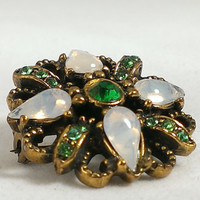 Emerald and Opal Brooch Gold Tone Metal Simulated Stones Victorian Inspired Hat Pin Purse Pin Coat Pin Scarf Pin