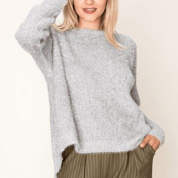 Women's Fuzzy Sweater with Open Back