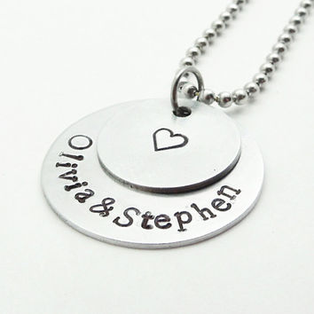 Customized stamped couples pendant necklace - Handmade silver-tone name pendant with heart charm - Boyfriend girlfriend pendant necklace