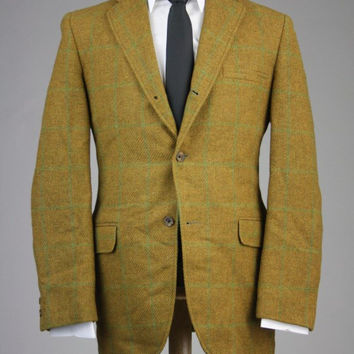 Vintage 60s Golden Brown Wool Tweed Windowpane 3/2 Roll Sportcoat/Blazer 44 R