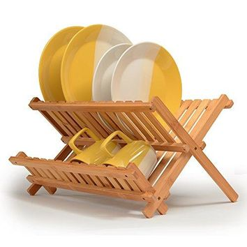 Bamboo Dish Rack Foldable Dish Drying Rack Collapsible Dish Drainer Wooden Plate Rack. Made of 100% Natural Bamboo, for Holding Plates and Lower Shelf for Cups, Glass and Utensils, By: Bambüsi