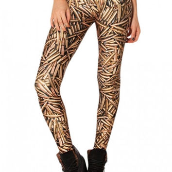 Gold Color Bullet Print Fashionable Elastic Treggings