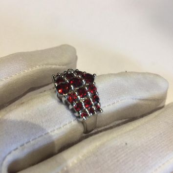 Vintage Bohemian Garnet 925 Sterling Silver Rhodium Finish Ring
