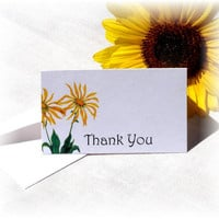 Flower Thank You Cards or Notes Mini Size Yellow Sunflower Drawing