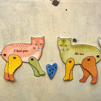 couple of cats in love -  articulated paper valentine decoration -  Cat Art print  -   the Frea(K)cat