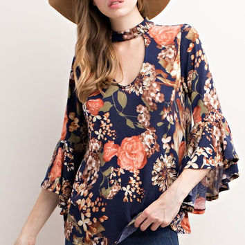 Floral Bell sleeves top