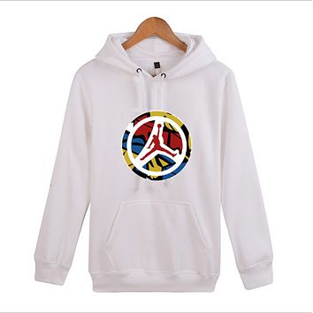 Jordan autumn and winter new trend basketball hooded sweater White