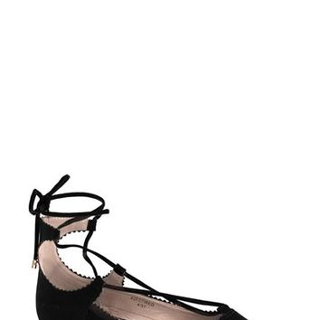 Women's Topshop 'Finest Shillie' Lace-Up Pointy Toe Flat,