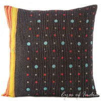 """20"""" Colorful Kantha Decorative Throw Pillow Cushion Cover"""