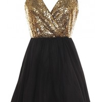 Crossback Sequin Dress