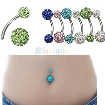 1PC Classic Navel Belly Button Bar Ring Barbell Rhinestone Crystal Ball Body Piercing Body Jewelry 023N