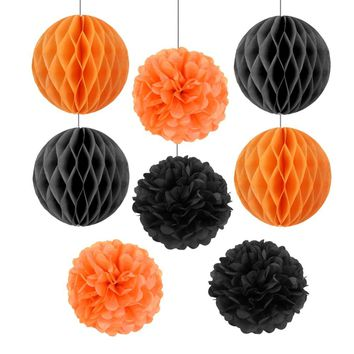 (Black,Orange)8pcs Halloween Decoration Set Decorative Honeycomb Balls Tissue Paper Pom Poms Flowers Kids Party Supplies