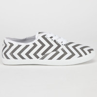 Full Tilt Womens Lace Up Shoes Grey Chevron  In Sizes