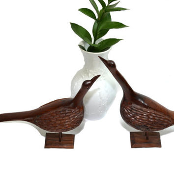 Vintage Wood Pellican Birds Carved Wood Bird Statues A Pair of Coastal Birds Beach Decor Boho Decor
