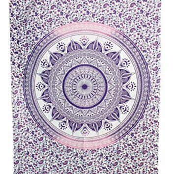 """Amitus Exports ® 1 X Dome Ombre 81""""X53"""" Approx. Inches Purple Pink With White Background Color Cotton Fabric Multi-Purpose Handmade Tapestry Hippy Indian Mandala Throws Bohemian Tapestries"""