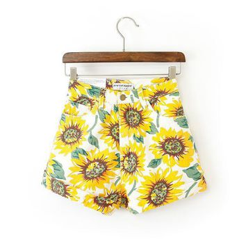Sunflower High Waisted Zippered Shorts