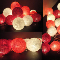 20 Mixed Coral-Red Tone Handmade Cotton Balls Fairy String Lights Home Decor