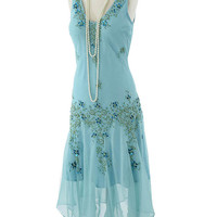 Beaded Aqua Silk Chiffon Deco Inspired Handkerchief Hem Dress