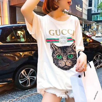 """""""Gucci"""" Women Casual Letter Print Embroidery Sequin Cat Head Short Sleeve T-shirt Shirt Top Tee"""