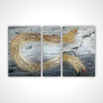 Gold gray white modern abstract painting - Textured - contemporary wall art deco - multi panel stretched canvas ready to hang
