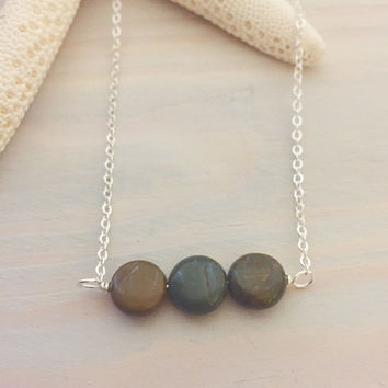 Dark Green Stone Necklace - Sea Jasper Necklace - Ocean Jasper Necklace - Green Stone Bar Necklace - Boho Bar Necklace - Gift for Her